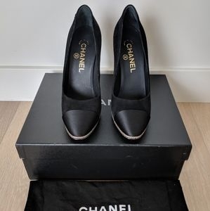 Chanel Black & Gold Heels, Size 36.5